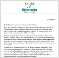 Briargate Covid 19 Letter